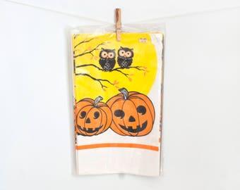 Vintage Halloween Paper Tablecloth, NOS Pumpkin Owl Print Trick or Treat Decor Original Package