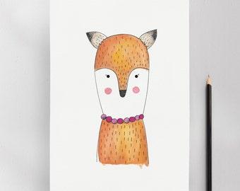 Mrs. Fox Illustration Art Print