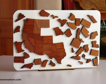 USA Map Puzzle - Mahogany