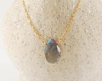 Labradorite Drop Gemstone Necklace