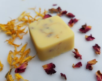 Rose and Calendula Shea Lotion Bar, natural, non-comedogenic, cruelty-free, deeply nourishing moisturizer