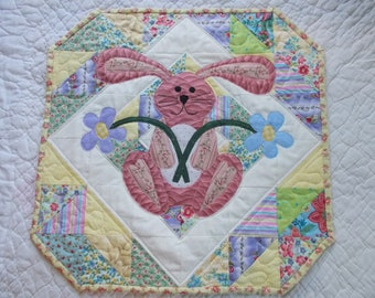 The Bunny in the Flowers Quilted Table Runner