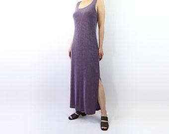 VINTAGE Dress Lavender Maxi Dress Tank Dress Long Medium