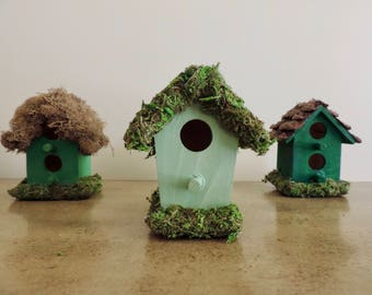Preserved moss bird houses, Set of 3 small bird houses