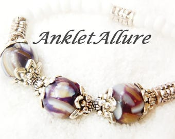 Marbled Shell Anklet Purple Ankle Bracelet Beach Jewelry Cruise Jewelry