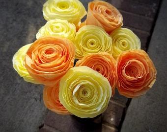 Handmade Coffee Filter Flower Bouquet - One Dozen Hand-Dyed Yellow and Orange Coffee Filter Roses - Handmade Paper Flower Bouquet