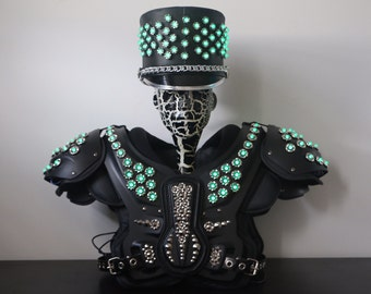 FREE SHIPPING! Light up Addressable LED Marching Band Hat and Armor Football Shoulder Pads Set. Burning Man Hat Costume