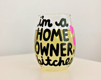 housewarming gift, new home housewarming gift, new homeowner, new home mug, new home gift, new house, gift for homeowner wine glass, mature