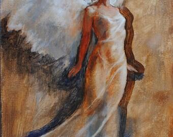 Angel Painting: Angel Looking Up / Original Oil Painting