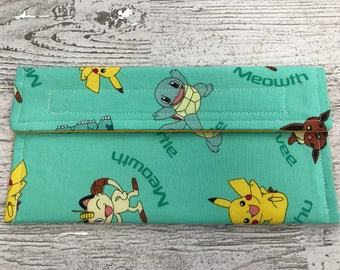Pokemon coupon organizer, money holder, pencil pouch