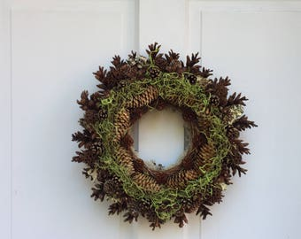 "All-Natural Wreath, 15"" Woodland Pine Cone Wreath, Spring Wreath, Housewarming Gift, One of a Kind"