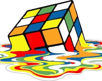 Melting Rubix Cube vinyl Sticker