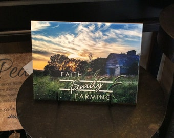 "Faith Family Farming, 6"" x 8"" Ceramic Tile, Home Decor"