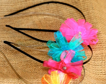 Flower Headband - Multiple Colors Available - Girl's Accessory - Metal Headband - Children's Headpieces
