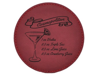 Cosmopolitan Drink Coasters - Traditional Mixed Drink Recipies - Choice of Coaster Color and Shape - 069
