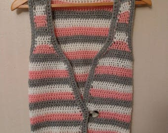Grey white and pink striped crocheted waistcoat