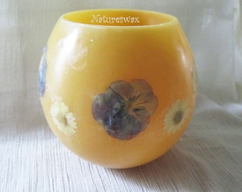 Pressed Flower, Beeswax Lantern, Beeswax Luminary,Daisy Flowers, Pansy Flowers, Beeswax Shell Luminary, Special Gift, Made in Colorado