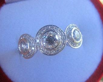 Forever One Diamond Ring, Moissanite Diamond Ring, Moissanite Three Stone Ring, Moissanite Triple Halo Ring, Moissanite Engagement Ring