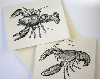 Lobster Note Cards Set of 10 with Matching Envelopes