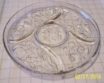 Large Clear Glass Divided Dish