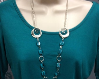 Silver Beaded Necklace, Swirl Bead Necklace, Silver Chain Necklace, Turquoise Necklace
