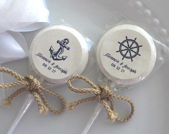 Nautical Candy Nautical Lollipops Wedding Candy Bridal Shower Candy 60 at 1.50 ea. 2 inch lollipop personalized