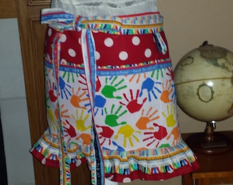 Teachers - Back To School - Half Apron - Plus Sizes Available - Great Gift Idea - Kindergarten - Student - Aide - 3 Pockets - Long