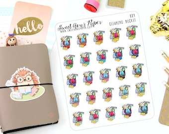 Cleaning Planner Stickers - Chore Planner Stickers - Clean Bathroom - To Clean Stickers - Bucket Stickers - Planner Stickers - 884
