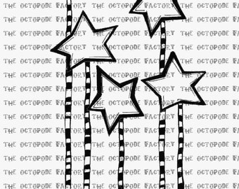 INSTANT DOWNLOAD Christmas Star Stems Digital Stamp Image