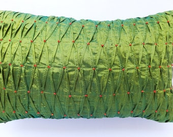 Dark lime  Green silk   oblong throw pillow with pintucks and bead work in orange. Decorative green pillow  12X20 inch custom made