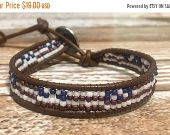 SALE American Flag Bracelet / 4th Of July / American Flag Jewelry / Healing Crystal Bracelet / Chan Luu Bracelet