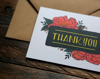 Blank Inside Thank You Card with Peonies