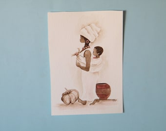 Mother and Child,  original painting,  watercolor original,  African mother,  Baby on back,  South African scene, Sepia painting,  naive art