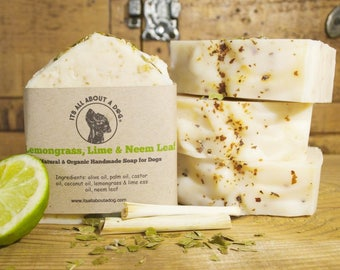 Natural and Organic Lemongrass, Lime & Neem Leaf Soap For Dogs - Dog Shampoo Soap Bar