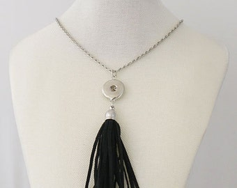 """1 Black Faux Suede Tassel Necklace - 33"""" FITS 18MM Candy Snap Charm Jewelry Silver kb0253 CJ0116"""