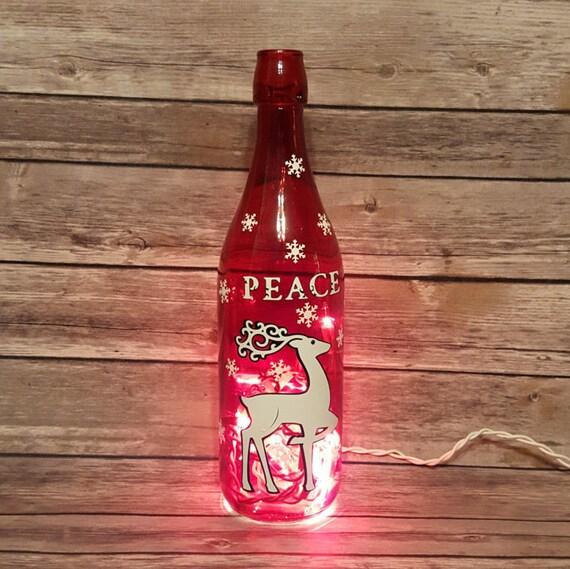 Christmas Lighted Wine Bottle