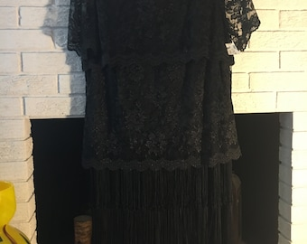 Beautiful Vintage Serbin Lace and Fringe Dress Sz 14