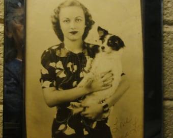 Vintage Woman Holding Cute Dog/ Original Photo/ Signed
