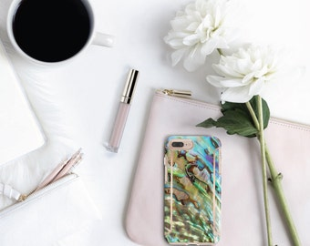 iPhone 8 Case iPhone 8 Plus Case iPhone X Abalone Shell with Rose Gold Detailing  Hard Case Otterbox Symmetry