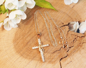 Large Gold Infinity Cross Necklace, 14K Gold Filled, Cubic Zirconium Cross with Infinity Symbol Necklace, Diamond Style Necklace