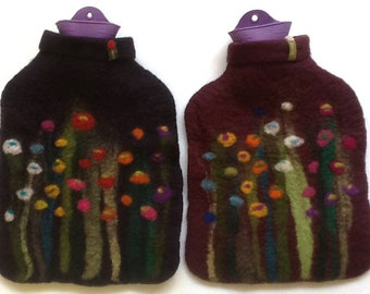 Hot water bottle with felted cover, grass and flowers, aubergine