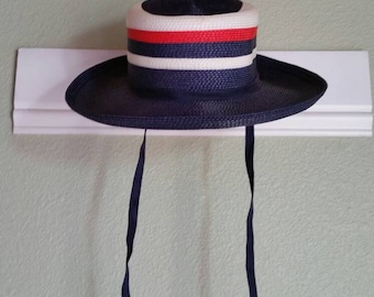 Vintage Straw Hat, Red White And Blue Striped