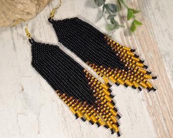 Beaded  Earrings Native American  Earrings Earrings Long beaded earrings Peyote Beadwork