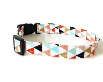 Multicolor triangle collar, orange triangle dog collar, gold collar, multicolor cat collar