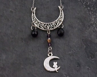 Cat necklace, Crescent moon pendant, Crystal jewelry, Symbolic necklace, Witch necklace, Wiccan jewelry, Celestial moon jewelry, Witchcraft