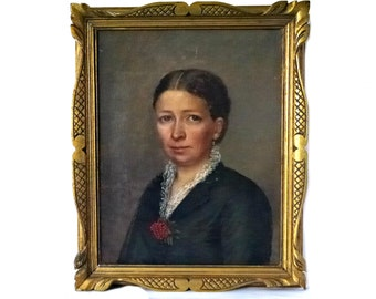 French antique portrait oil panting of a women signed and framed