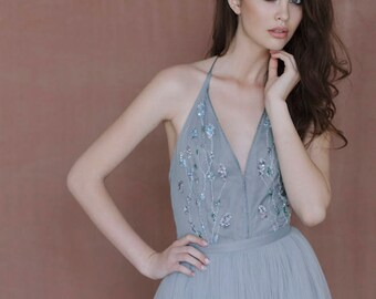 Blue and gray wedding gown / Tulle wedding dress
