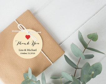 Wedding Favor Tags, Round Favor Tags Red Heart Thank You Personalized, Thank You Tags, Baby Shower Favor Tags