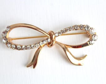 Bow Brooch, Bow Pin, Gold Bow Brooch, Gold Bow Pin, Rhinestone Bow Brooch, Rhinestone Bow Pin, Gold Brooch, Gold Pin, Rhinestone Brooch