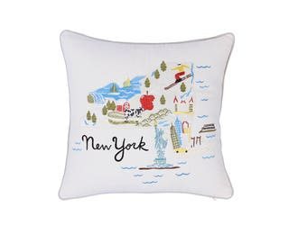 Pillow cover Newyork State Embroidered Cushion Cover Decorative Pillowcase Gift for Graduation Housewarming Wedding